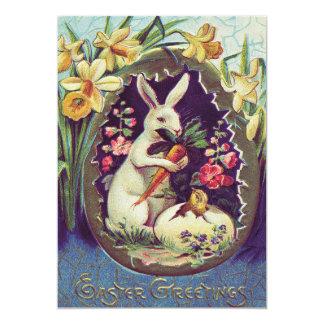"""Narciso del polluelo del huevo del conejito de invitación 5"""" x 7"""""""