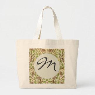 Narciso elegante del papel pintado floral del bolsa tela grande