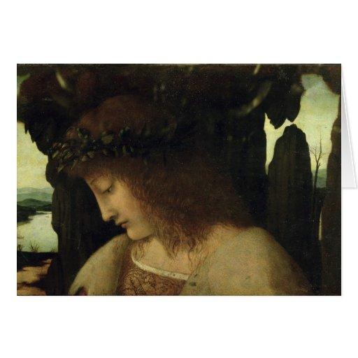 Narciso en la fuente tarjeta de felicitación