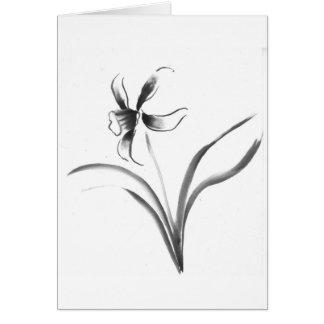 Narciso, flor de Sumi-e Felicitaciones