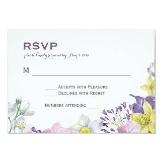 """Narciso pintado a mano RSVP del narciso del color Invitación 3.5"""" X 5"""""""