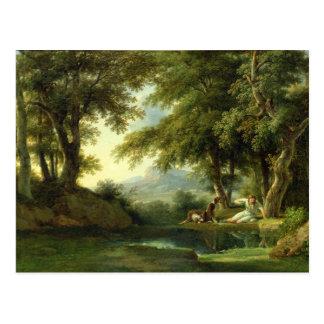 Narciso que admira su reflexión tarjeta postal