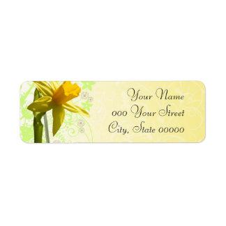 Narciso que casa la primavera amarilla etiqueta de remite