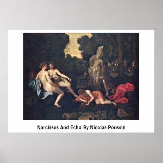 Narciso y eco de Nicolás Poussin Poster