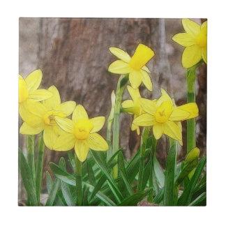 Narcisos amarillos brillantes azulejo cuadrado pequeño