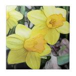 Narcisos amarillos de la primavera azulejo ceramica