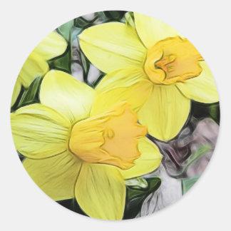 Narcisos amarillos de la primavera pegatina redonda