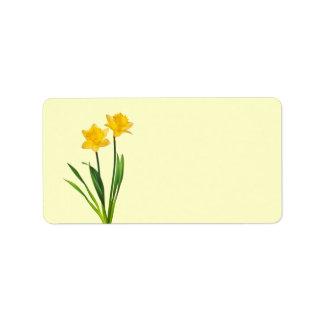 Narcisos amarillos de la primavera - plantilla del etiquetas de dirección
