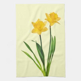 Narcisos amarillos de la primavera - plantilla del toallas de cocina