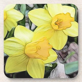 Narcisos amarillos de la primavera posavaso