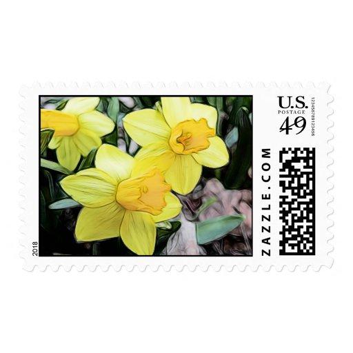 Narcisos amarillos de la primavera sellos