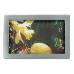 Narcisos amarillos de la primavera y un huevo de P Hebillas De Cinturón