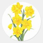 Narcisos amarillos etiqueta redonda