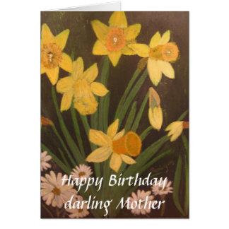 narcisos de la primavera, madre del querido del tarjeta de felicitación
