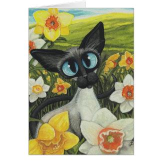 Narcisos de Pascua del gato siamés de la primavera Tarjeta De Felicitación