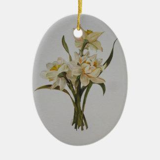 Narcisos dobles adorno navideño ovalado de cerámica