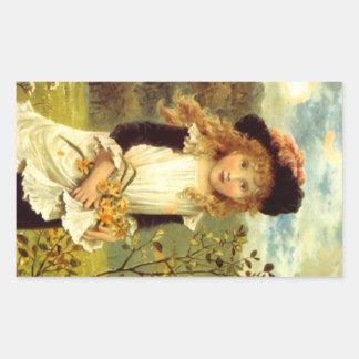 Narcisos Jonqu del delantal del Victorian del Pegatina Rectangular