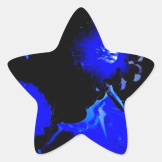 Narcisos negros y azules pegatinas forma de estrella personalizadas
