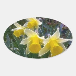 Narcisos salvajes pegatina ovalada
