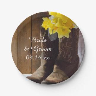 Narcisos y boda occidental del país de las botas plato de papel de 7 pulgadas
