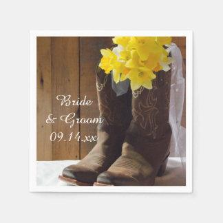 Narcisos y boda occidental del país de las botas servilleta de papel