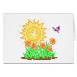 Narcisos y mariposa felices de Sun Tarjeta
