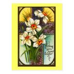 Narcisos y vintage cruzado Pascua Postal