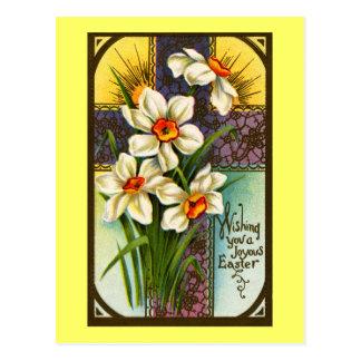 Narcisos y vintage cruzado Pascua Tarjeta Postal
