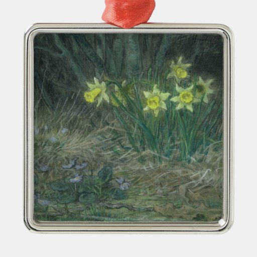 Narcissi and Violets, c.1867 Square Metal Christmas Ornament