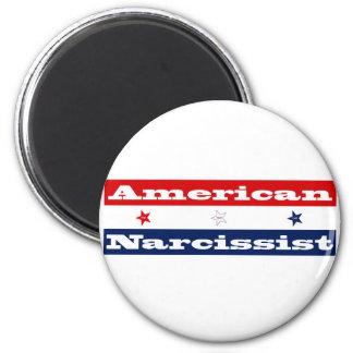 Narcissist americano (barras y estrellas) imán redondo 5 cm