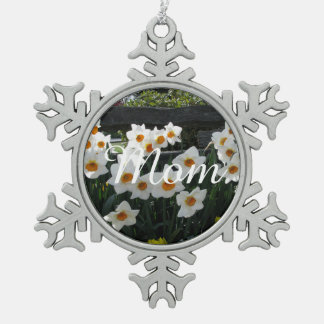 Narcissus and Wooden Fence Snowflake Pewter Christmas Ornament