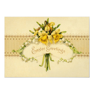 Narcissus Daffodil Lily of The Valley Easter Card