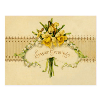 Narcissus Daffodil Lily of The Valley Easter Postcard