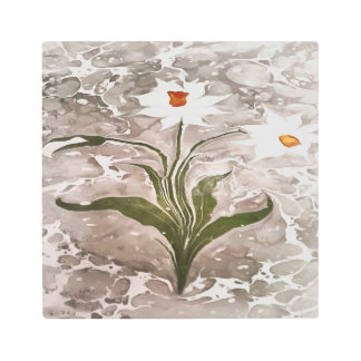 Narcissus On Marble Metal Print