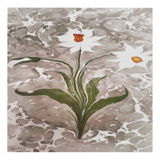 Narcissus On Marble Panel Wall Art