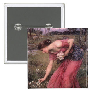 Narcissus Picking Flowers in the Meadow 2 Inch Square Button