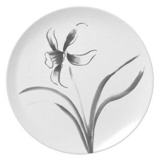 Narcissus, Sumi-e flower Melamine Plate