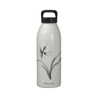 Narcissus, Sumi-e flower Reusable Water Bottle