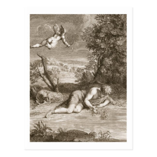 Narcissus Transformed into a Flower, 1730 (engravi Postcard