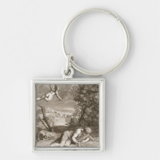 Narcissus Transformed into a Flower, 1730 (engravi Silver-Colored Square Keychain