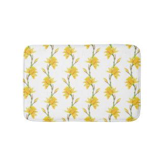 Narcissus yellow white green flowers bath mat