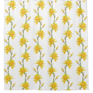 Narcissus yellow white green flowers shower curtain