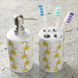 Narcissus yellow white green flowers soap dispenser & toothbrush holder