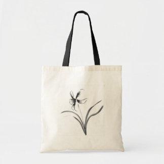 Narcisus, Sumi-e flower Canvas Bags