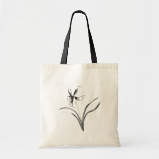 Narcisus, Sumi-e flower Tote Bag