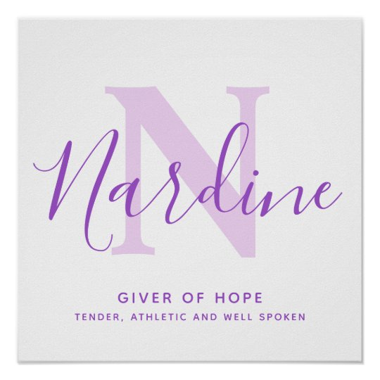 Nardine name meaning purple text personalized poster