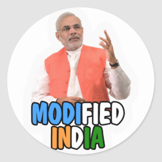 Narendra Modi Collection Classic Round Sticker