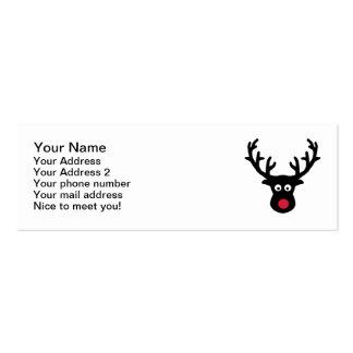 Nariz del rojo de la cara del reno tarjetas de visita mini
