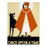 Narración de cuentos - capa con capucha roja postal