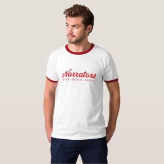 Narrators Give Good Aural ringer front/back red m T-Shirt